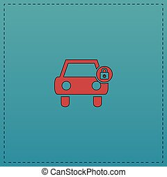 automobile, simbolo, computer, serratura