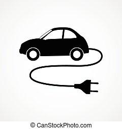 automobile, simbolo, elettrico