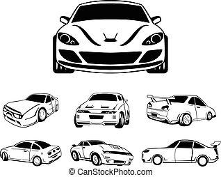 automobile, simbolo, illustrazione
