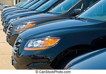 automobile, soleggiato, automobili, luminoso, lotto, giorno, fila