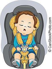 automobile, sonno, posto, ragazzo, bambino primi passi, illustrazione
