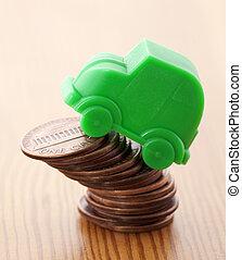 automobile, sopra, miniatura, verde, penny