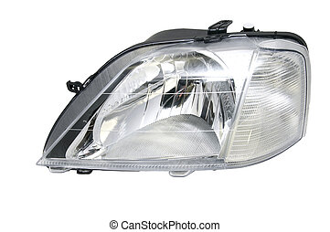 automobile Spare Parts - new car headlights on a white...