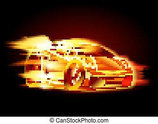 automobile, sport, cartone animato