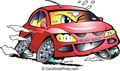 automobile, sport, da corsa, rosso, mascotte