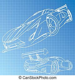 automobile sportivi, schizzo, cianografia