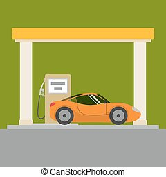 automobile, stazione, gas