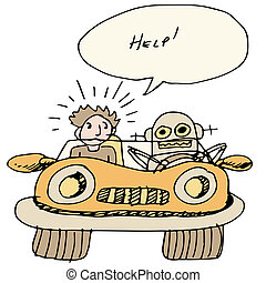 automobile, stesso, guida