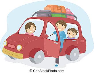 automobile, stickman, viaggiare, famiglia