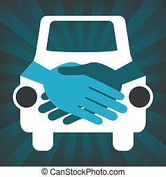 automobile, stretta di mano, design.