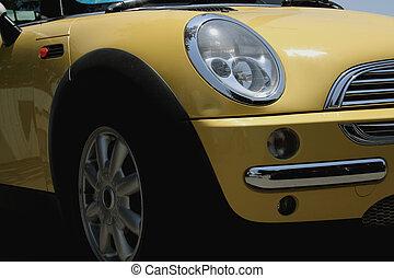 automobile, su, giallo, chiudere
