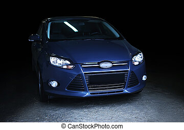 automobile, su, sfondo nero