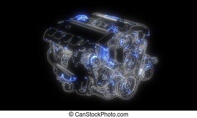 Automobile Technology. car compressor .animation in digital...