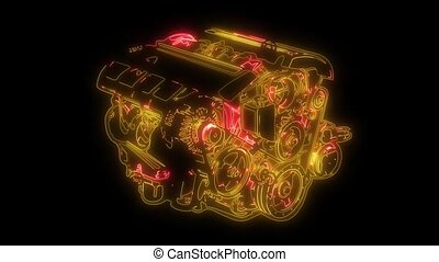 Automobile Technology. car compressor X-ray image 360 degree view. animation in digital