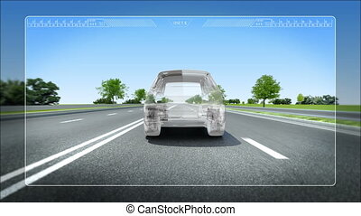 Automobile Technology. Road Lane alert