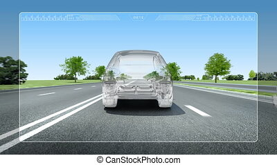 Road Lane alert .automotive - Automobile Technology. Road...