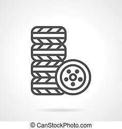 Automobile tires kit black line vector icon - Stack of tires...