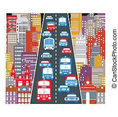Automobile traffic - A stylized image of the urban...