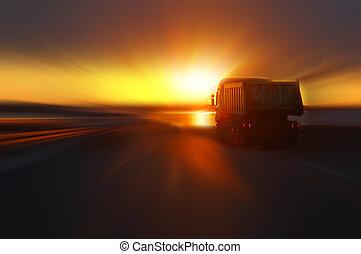 automobile, tramonto, autostrada