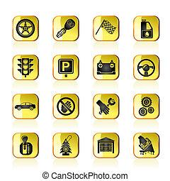automobile, trasporto, icone