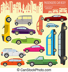 automobile, trasporto, infographic