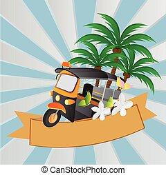 automobile, tuk, tre-wheeler, tailandia, tassì, vettore