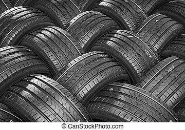 automobile, uggia, pila, sfondi, grande, profondo, pneumatici, vista.