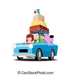 automobile, vacanza, famiglia, va