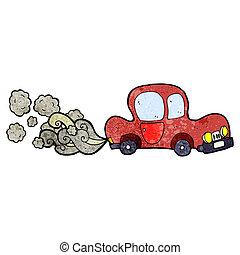 automobile, vecchio, cartone animato, sporco