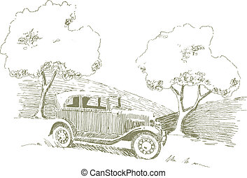 automobile, vecchio, scena
