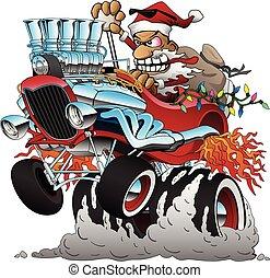 automobile, verga, illustrazione, natale, caldo, vettore, santa, cartone animato