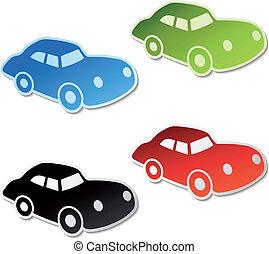 automobile, vettore, adesivi