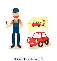 automobile, vettore, carattere, cartone animato, meccanico