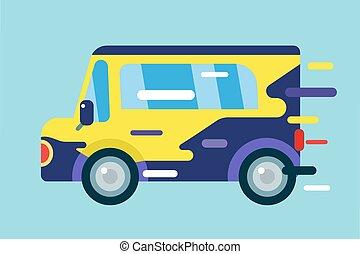 automobile, vettore, cartone animato, icona