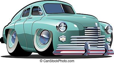 automobile, vettore, cartone animato, retro