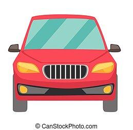 automobile, vettore, cartone animato, rosso, illustration.