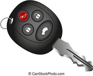 automobile, vettore, chiave
