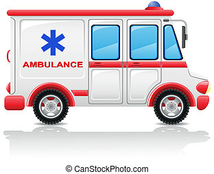 automobile, vettore, illustrazione, ambulanza