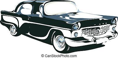 automobile, vettore, interpretazione, retro