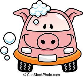automobile, vettore, lavare, maiale