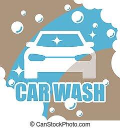 automobile, vettore, lavare