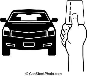 automobile, vettore, mano scheda