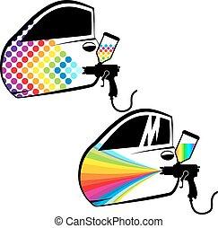 automobile, vettore, pittura