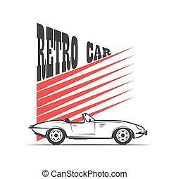 automobile, vettore, -, retro, illustrazione