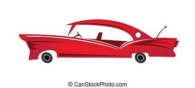 automobile, vettore, rosso, classico