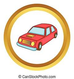 automobile, vettore, rosso, icona