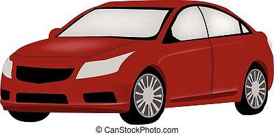 automobile, vettore, rosso