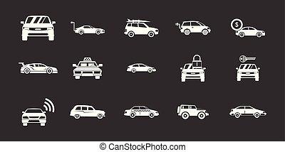 automobile, vettore, set, grigio, icona