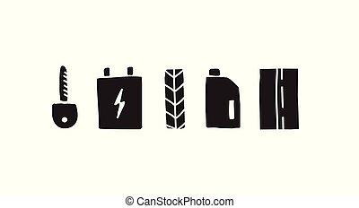 automobile, vettore, set, icona