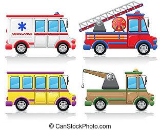 automobile, vettore, set, illustrazione, icona